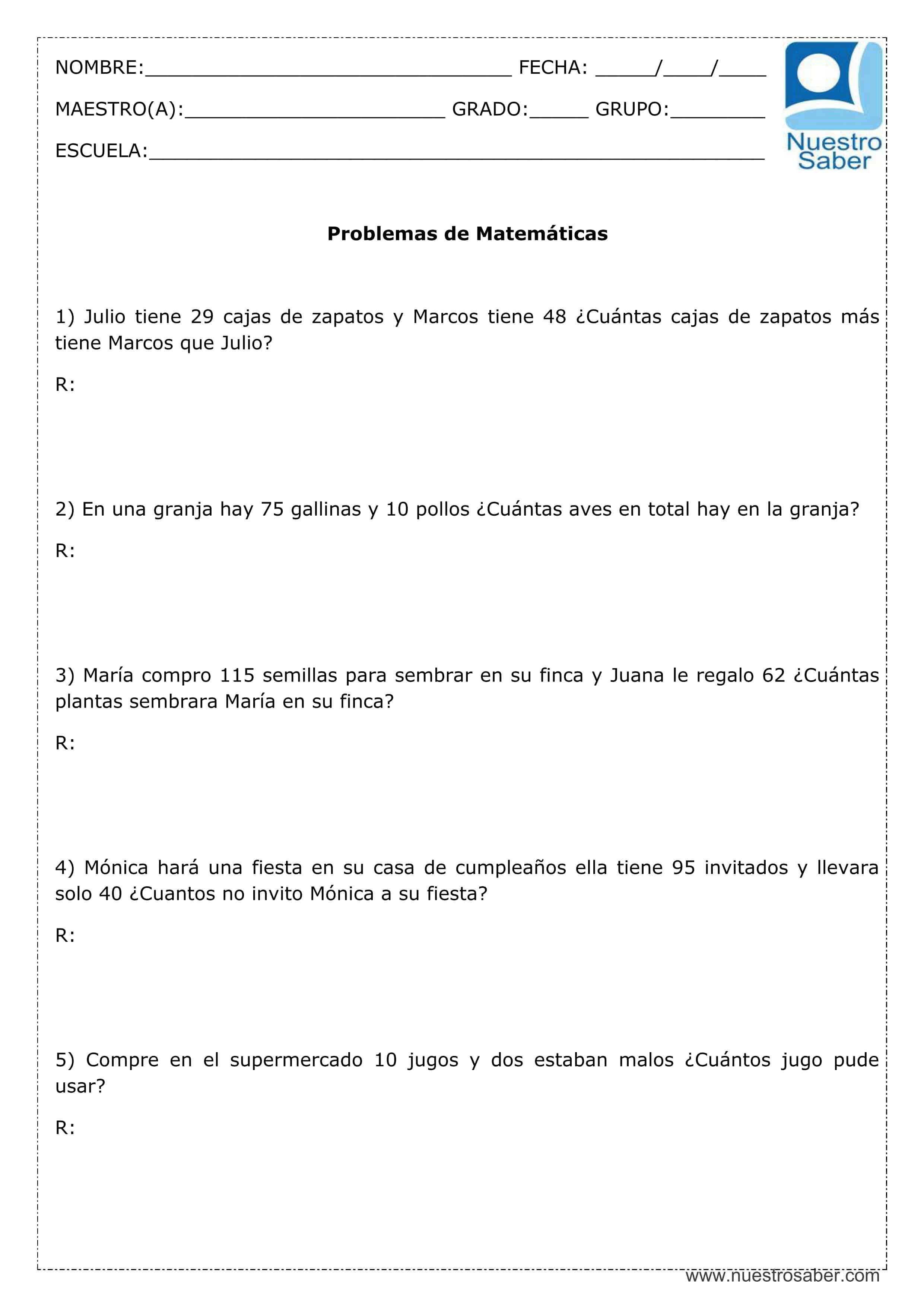 Problemas de Matemáticas: Suma y resta - Tercer grado primaria