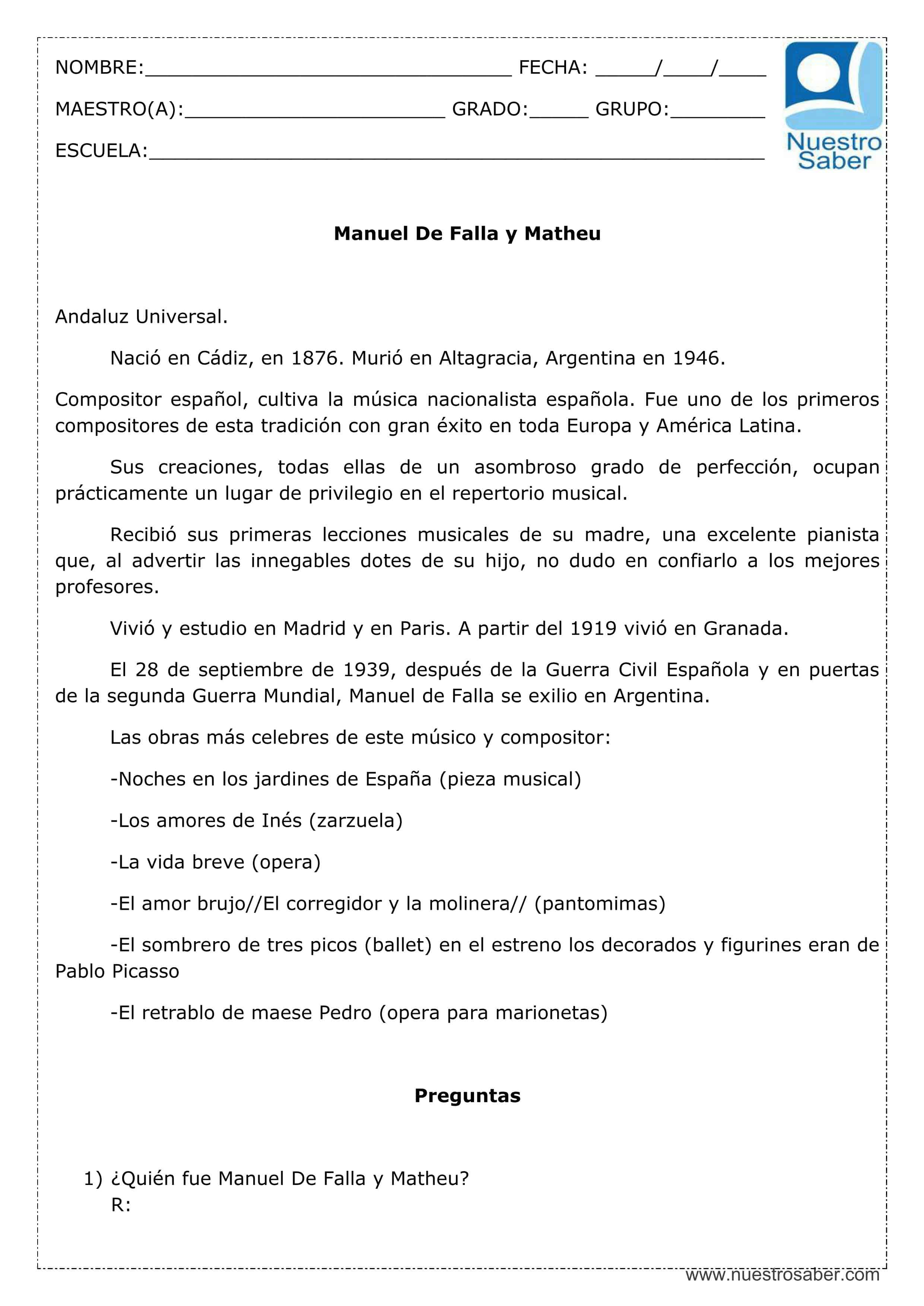 Comprensión lectora: Manuel de Falla y Matheu - Cuarto grado ...