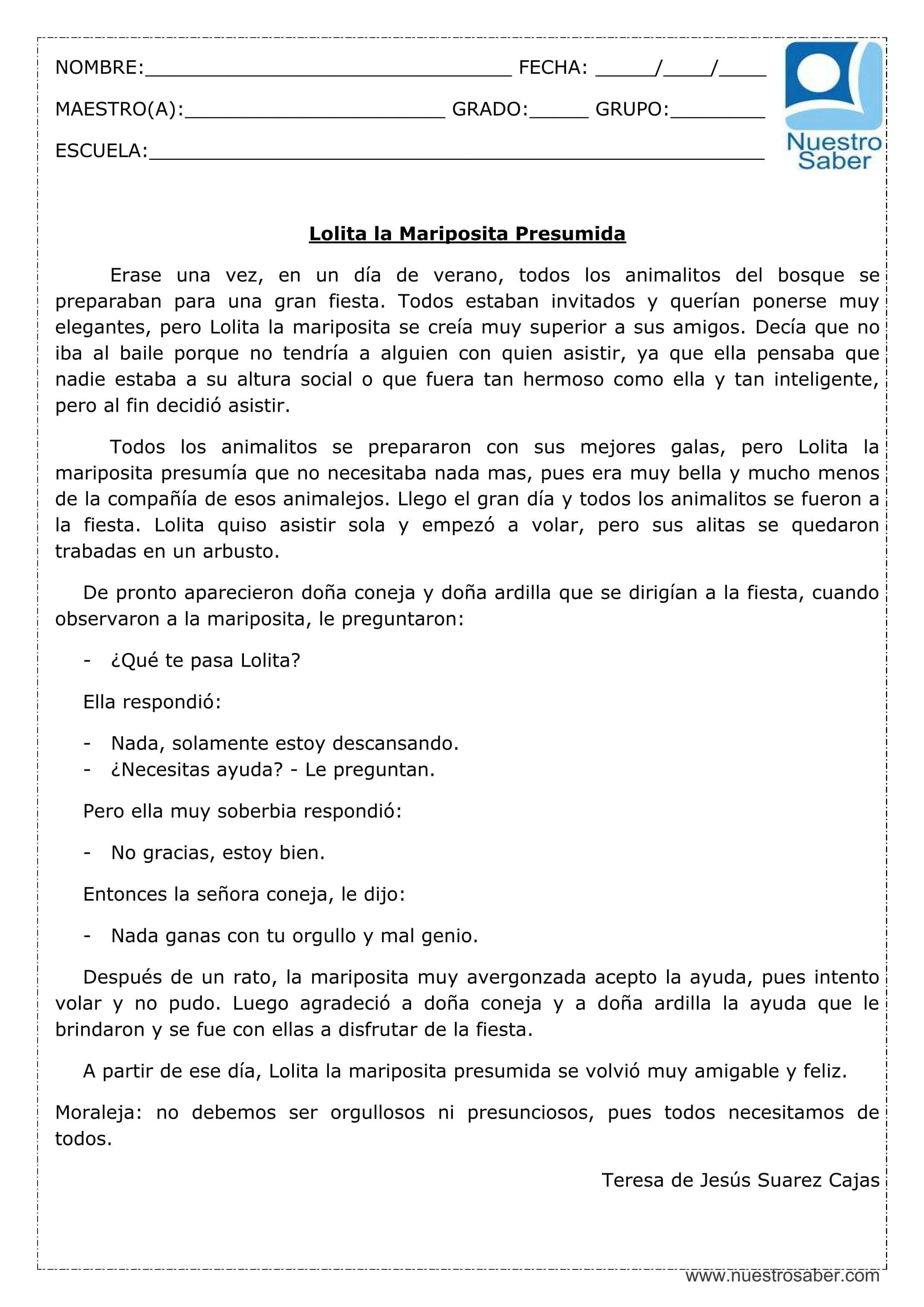 Comprensión lectora: Lolita la mariposita presumida - Cuarto grado ...