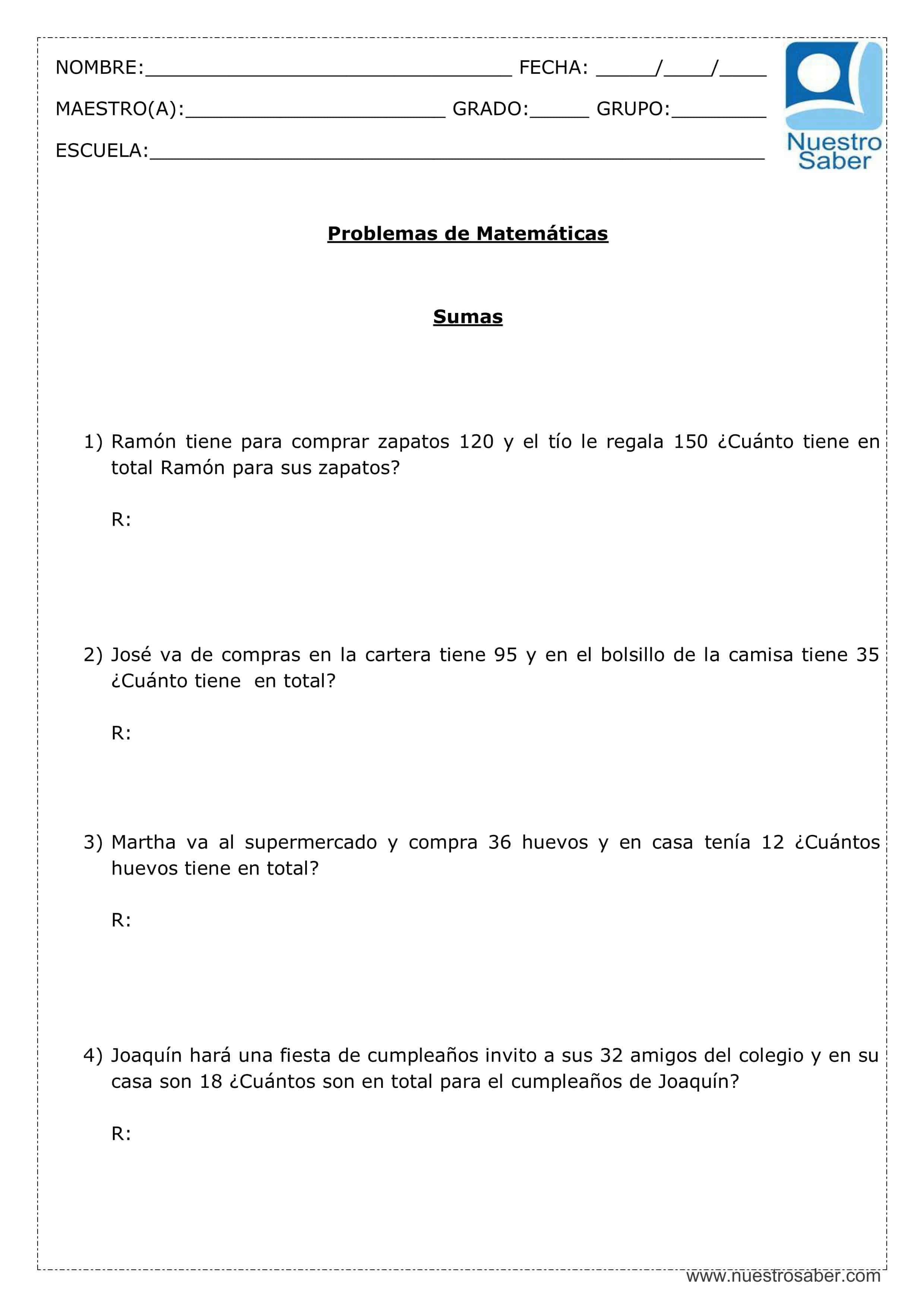 Ejercicios de matemáticas: Problemas de Sumas - Tercer grado primaria